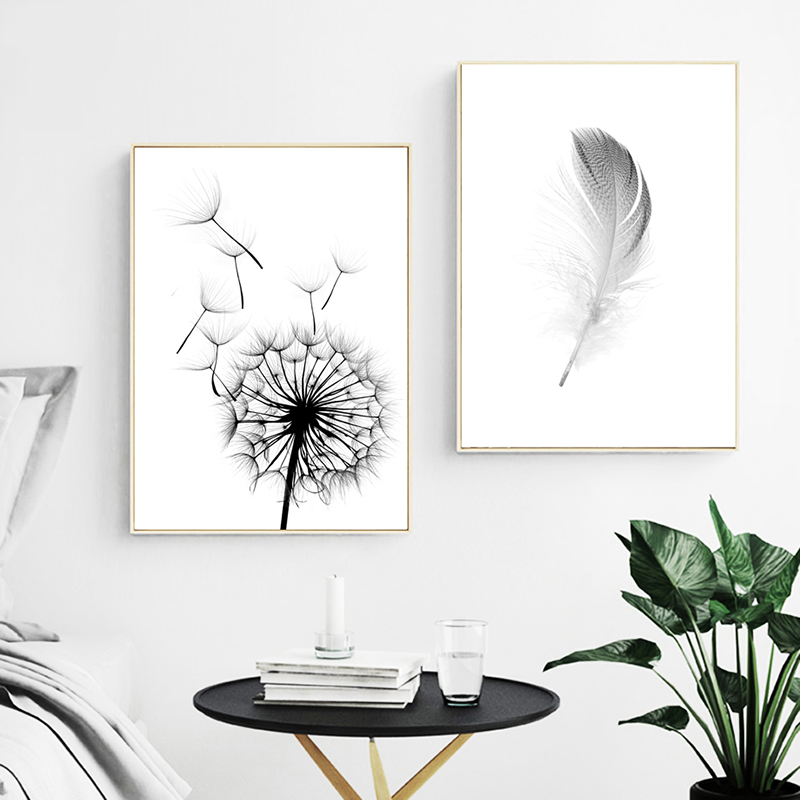 Simple Quotes HD Wall Art Modular Picture Nordic Style Poster Feather Dandelion Canvas Painting Print Restaurant Innrech Market.com