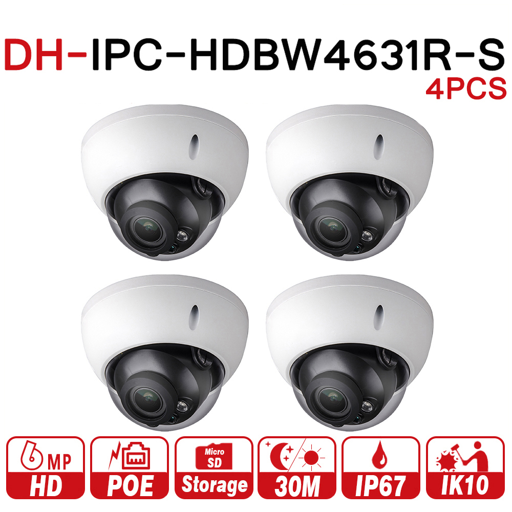 DH Security IP Camera IPC-HDBW4631R-S 4Pcs/lot Upgrade From IPC-HDBW4431R-S 6MP POE SD Card Slot Security CCTV Camera IK10 dahua h 265 ip camera ipc hdbw4631r s replace ipc hdbw4431r s 6mp poe cctv camera 30m ir 1080p network camera onvif sd card slot