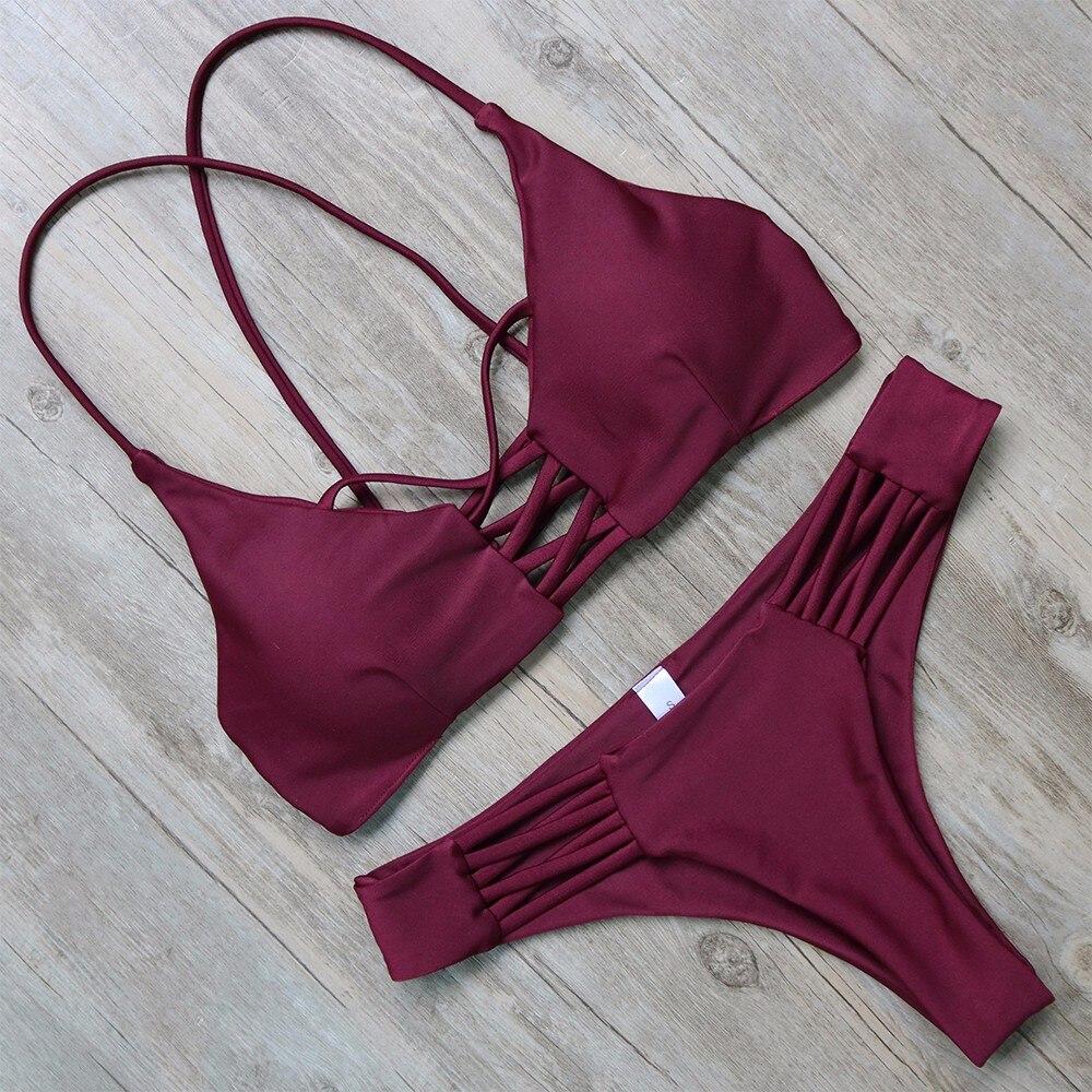 Bikini Qadın Bandaj Kəmər Bikinis 2019 Seksual Qırmızı - İdman geyimləri və aksesuarları - Fotoqrafiya 3
