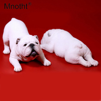 Mnotht Toy 1/6 Scale 1Pair British Bulldog Model Naughty & silly adorable Animal Pet Dog Carve Model For 12in Action Figure Toys