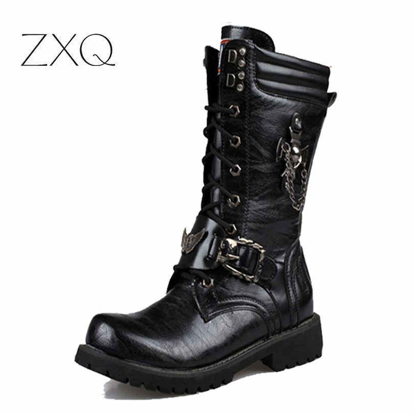 97cb7f50c392 NEW 2017 Personality Men s boots Punk Boots Black Male High-Top Shoes  Fashion Motorcycle Boots