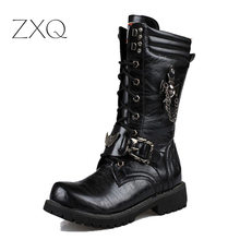 NEW 2017 Personality Men's boots Punk Boots Black Male High-Top Shoes Fashion Motorcycle Plus Size 37-45