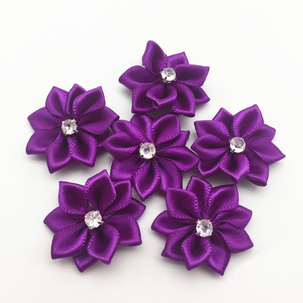 100pcs 25mm Purple Satin Ribbon Flowers Rhinestone Diamond Centered Craft Flower For Wedding Table Decorations Embellishments Ribbons Aliexpress