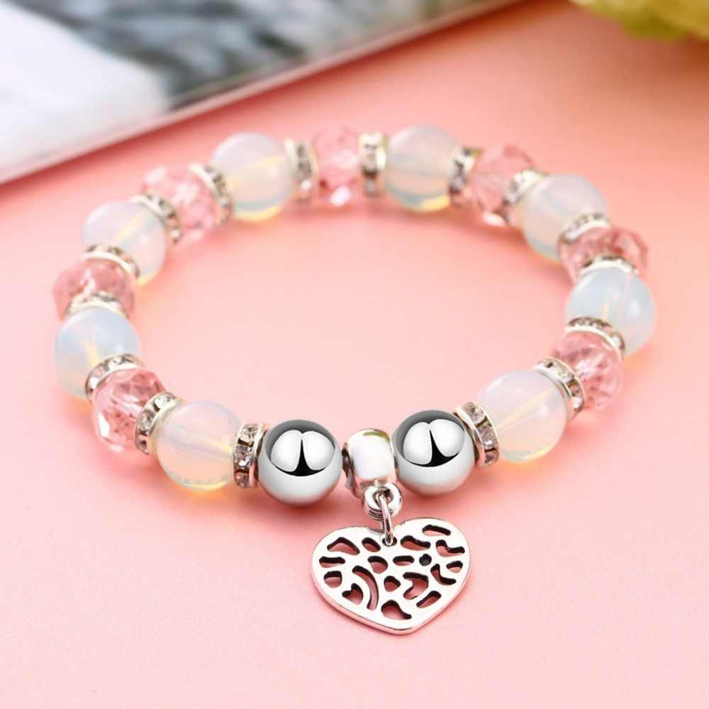 Moda elastyczna szklane koraliki bransoletki Femme serce Charm bransoletka dla kobiet dziewczyn mężczyzn mężczyzna przyjaźń biżuteria letnia