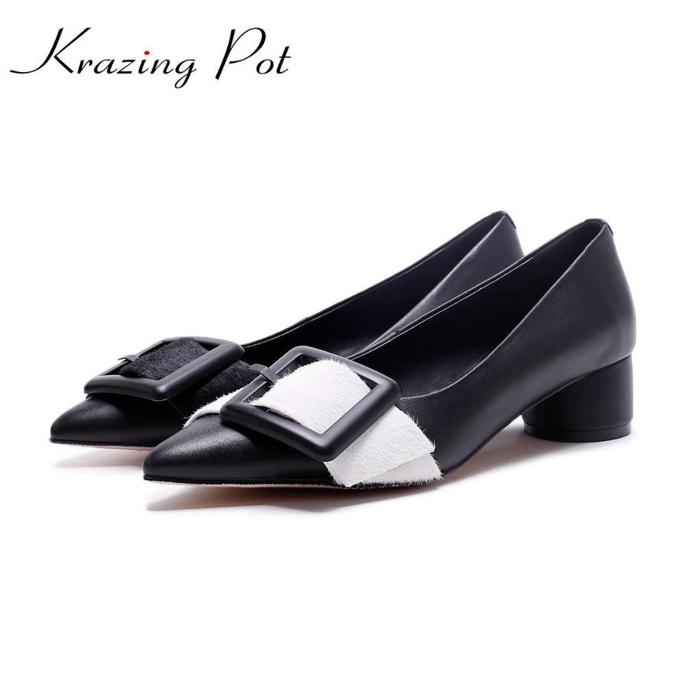 KRAZING POT genuine leather metal buckle original design European style shallow round buckle pumps pointed toe brand shoes L38 krazing pot genuine leather original design thick med heels shallow women nude concise pumps pointed toe solid brand shoes l11