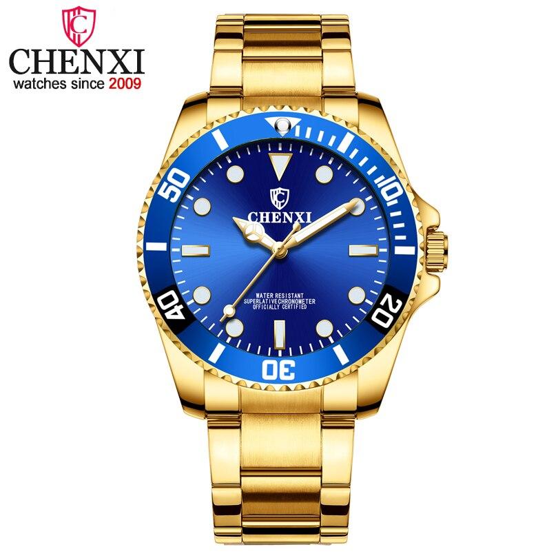 CHENXI hombres de oro reloj con correa de acero inoxidable, marca de lujo relojes de pulsera de cuarzo para hombre deportes relojes reloj relogio masculino