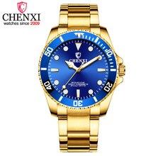 CHENXI для мужчин золотые часы Топ Элитный бренд нержавеющая сталь Ремешок кварцевые наручные часы мужской спортивные часы relogio masculino