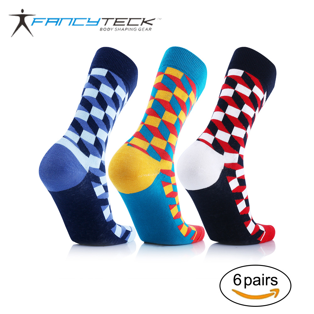 6 Pair Men 39 s Cotton Socks Comfortable Compression Socks Colorful Happy Socks 2017 Brand New Fit For Man Woman Gift in Men 39 s Socks from Underwear amp Sleepwears