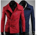 2017 men's winter red new business slim fit Korean double-breasted wool trench coat jacket pea coats clothes Free shipping
