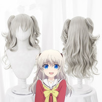 Japanese Anime Charlotte Tomori Nao cosplay wig with ponytails Girl Charlotte silver hair wig