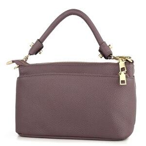 Image 2 - Женская маленькая сумка через плечо из натуральной кожи, Модный повседневный мессенджер через плечо, Женский тоут с 3 карманами на молнии
