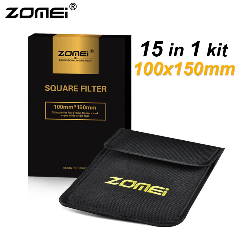 15in1 Zomei 100x150mm Graduated ND2 ND4 ND8 ND16 + Full ND2 ND4 ND8 + 8*Graduated Color Lens Filter Kit for Cokin Z 100mm*150mm 7 in 1 zomei 100mm x 150mm square filter nd2 nd4 nd8 graduated 4 colors filter kit 100mm 150mm 100x150mm for cokin z pro holder