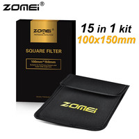 15in1 Zomei 100x150mm Graduated ND2 ND4 ND8 ND16 + Full ND2 ND4 ND8 + 8*Graduated Color Lens Filter Kit for Cokin Z 100mm*150mm