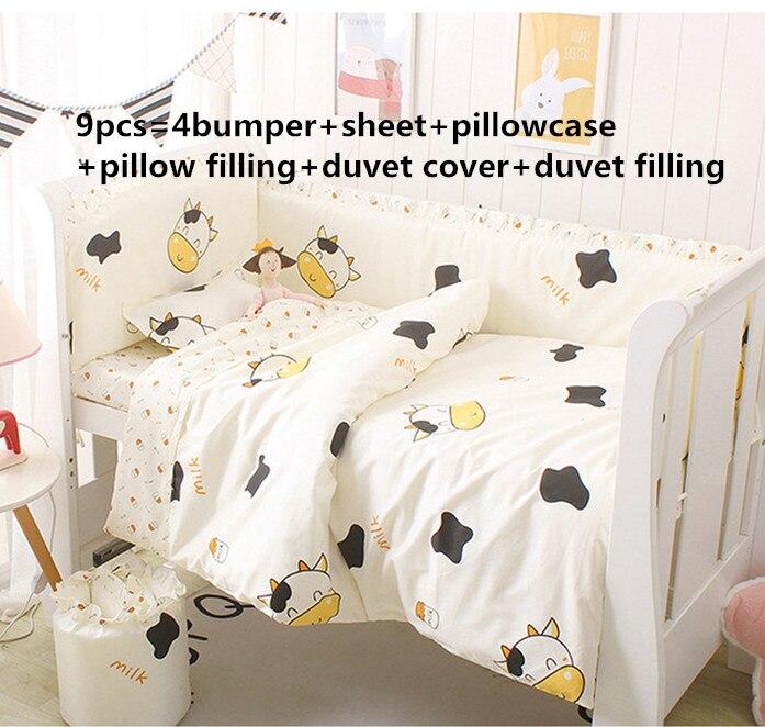 Promotion! 6/9PCS Cow Crib Baby Bedding Set Bed Linen Crib Bedding Set Cotton Baby Bedclothes Blanket Whole Set