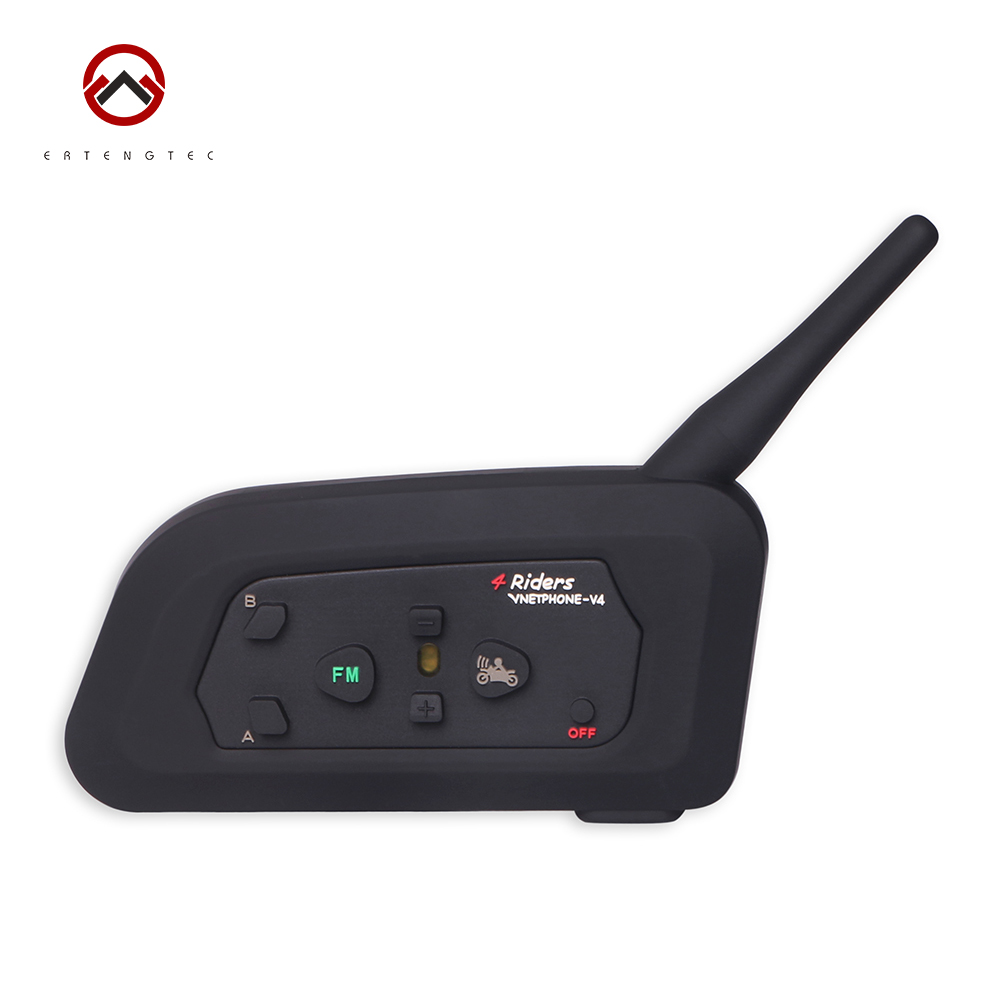 Bluetooth Intercom Interphone V4-1200 1PC 1200m For Motorcycle Waterproof 550mAh Battery Support 4 Riders Talking FM Radio lexin 2pcs max2 motorcycle bluetooth helmet intercommunicador wireless bt moto waterproof interphone intercom headsets