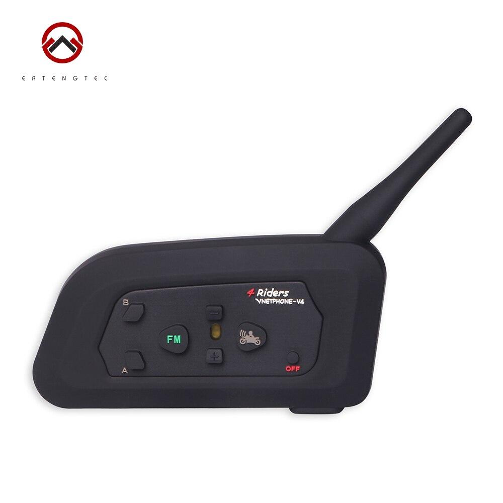ФОТО Bluetooth Intercom Interphone V4-1200 1PCS 1200m For Motorcycle Waterproof 550mAh Battery Support 4 Riders Talking FM Radio