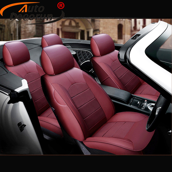 AutoDecorun Perforated Leather Seat Covers for Jeep Compass Accessories Cowhide Car Seat Protectors Cushion Cover Sets 2007-2016