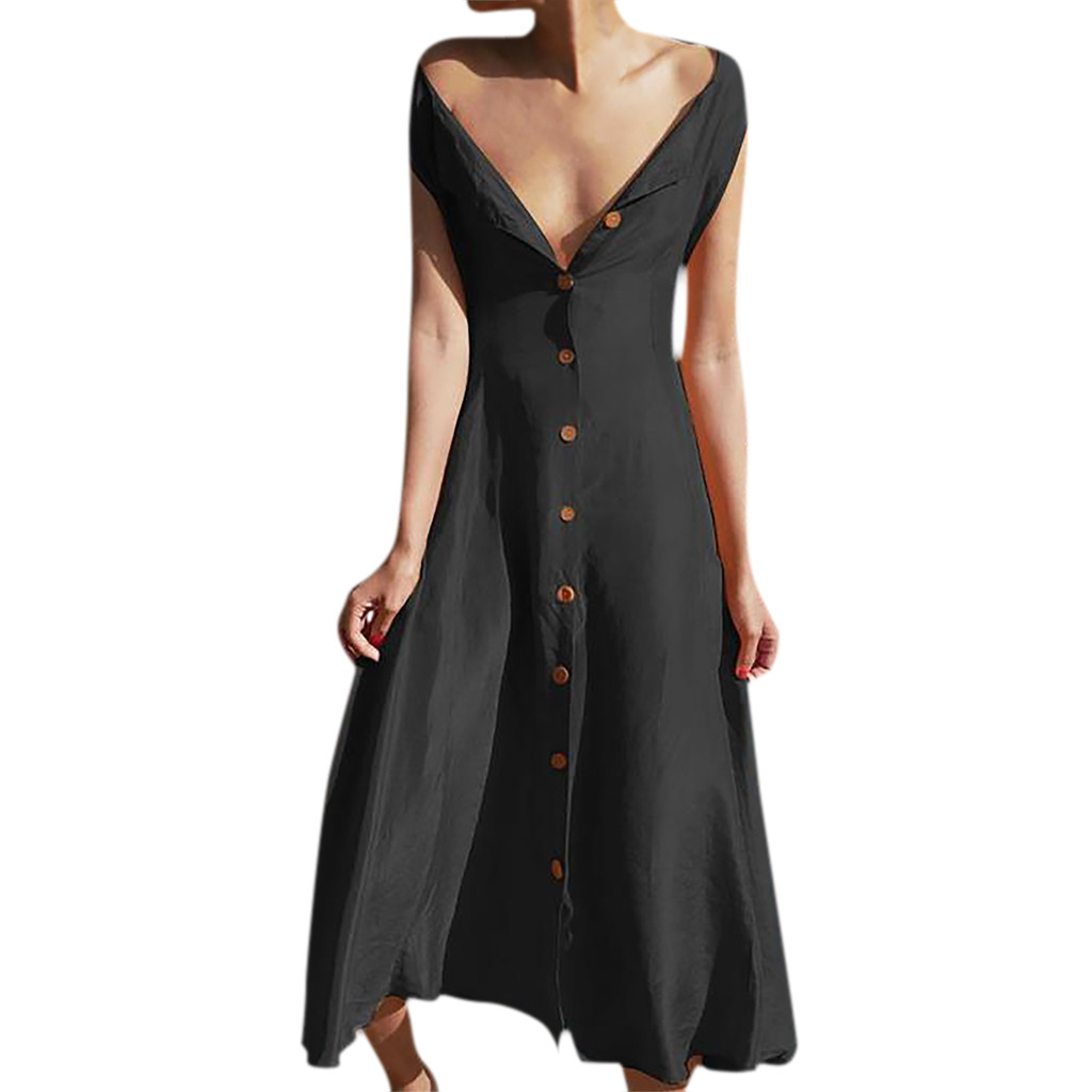 Women's Ladies Loose Solid Sleeveless Mid Calf Elegant Dress Summer Sexy Deep-v Slim Button Vestidos Robe Femme Dropshipping