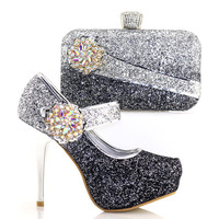 Beautiful Design Handbag Matching Shoes Set With Crystal African Women Shoes And Black Color Bag For Dress V8886 1