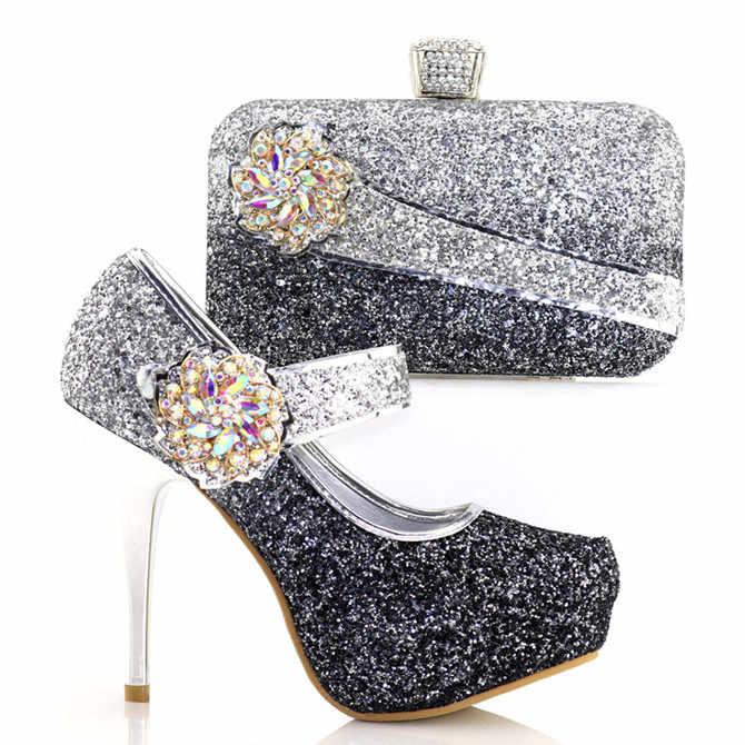 Indah Tas Tangan Desain Yang Sesuai dengan Sepatu Set dengan Kristal Afrika Sepatu dan Warna Hitam Tas untuk Gaun V8886-1