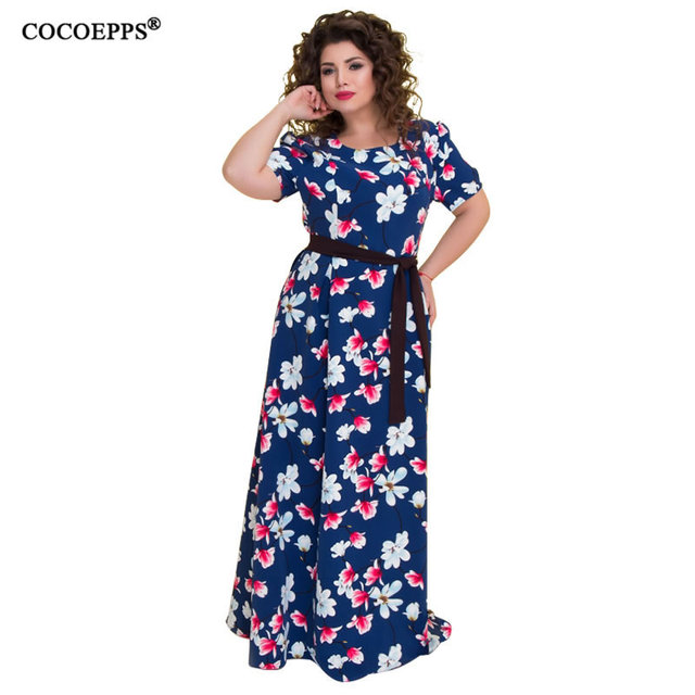 b43991e5f49 5XL 6XL 2018 summer big size long dress floral print plus size vintage women  dress maxi with sashes large Chiffon beach dress -in Dresses from Women s  ...