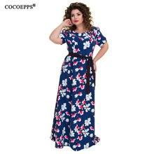 5XL 6XL 2018 летние большие размеры длинное платье с цветочным принтом Большие размеры винтажные женские Платье макси с поясом большой шифоновое пляжное платье