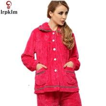 Pyjama Flannel Pajamas Elegant Women's Character Long Sleeve Turn-down Collar Coral Fleece Pajama Set Women Animal Pajamas SY809