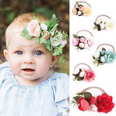 Kids Girl Baby Infant Flower Headband Accessories Adjustable Elastic Red Pink Blue Rose Floral Headwear Hair Band Accessories