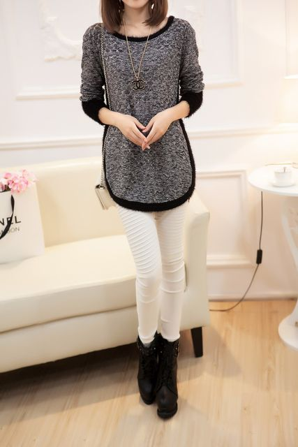 New Fashion Autumn  Brand Female Mohair Pullover Loose Sweater Knitted Long Sleeve O-neck Gray Pullovers Hot Sale Sweater 15