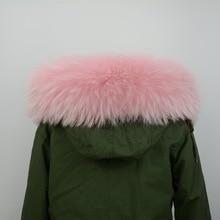 Lining 70cm Real fur collar or genuine raccoon dog fur scarf for women man jacket fashion warm hooded collar S1471WS