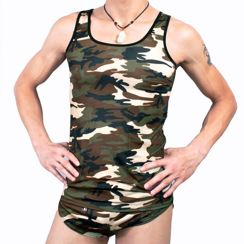 Manview Men Tank tops Sleeveless Nylon Fitness Shirt Polyamide Camouflage Singlet Print Vest