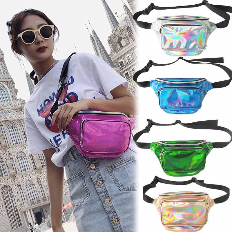 Yeni 2019 holografik kadın kız fanny paketi bel çantası parlak Neon lazer Hologram bel paketleri seyahat omuz parti Rave kalça bel çantası