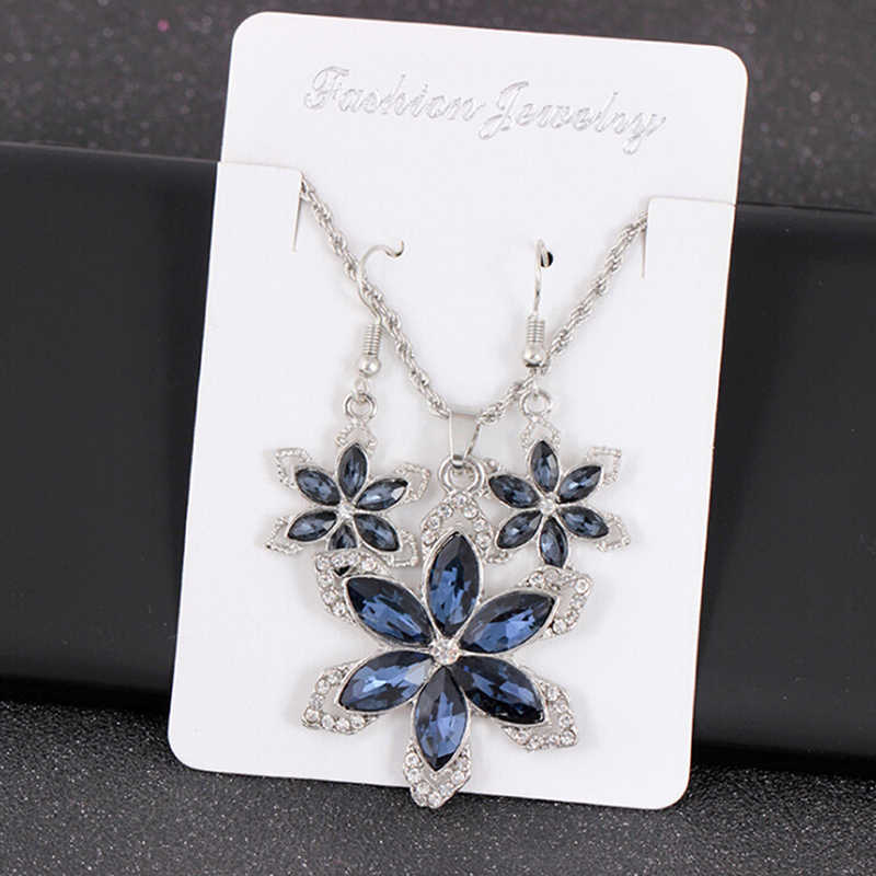 Wholesale Bride Sets Blue Crystal Colorful Flower Necklace Big Earring Jewelry Set For Women Wedding Bijoux