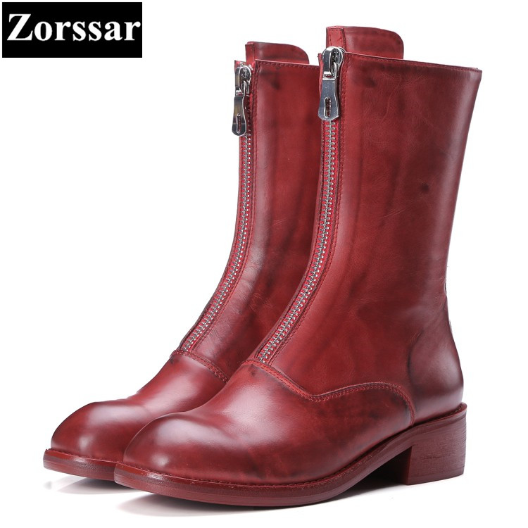 {Zorssar} 2018 NEW fashion women boots Genuine leather Low heel womens Mid-Calf boots Round Toe shoes Autumn winter women shoes double buckle cross straps mid calf boots