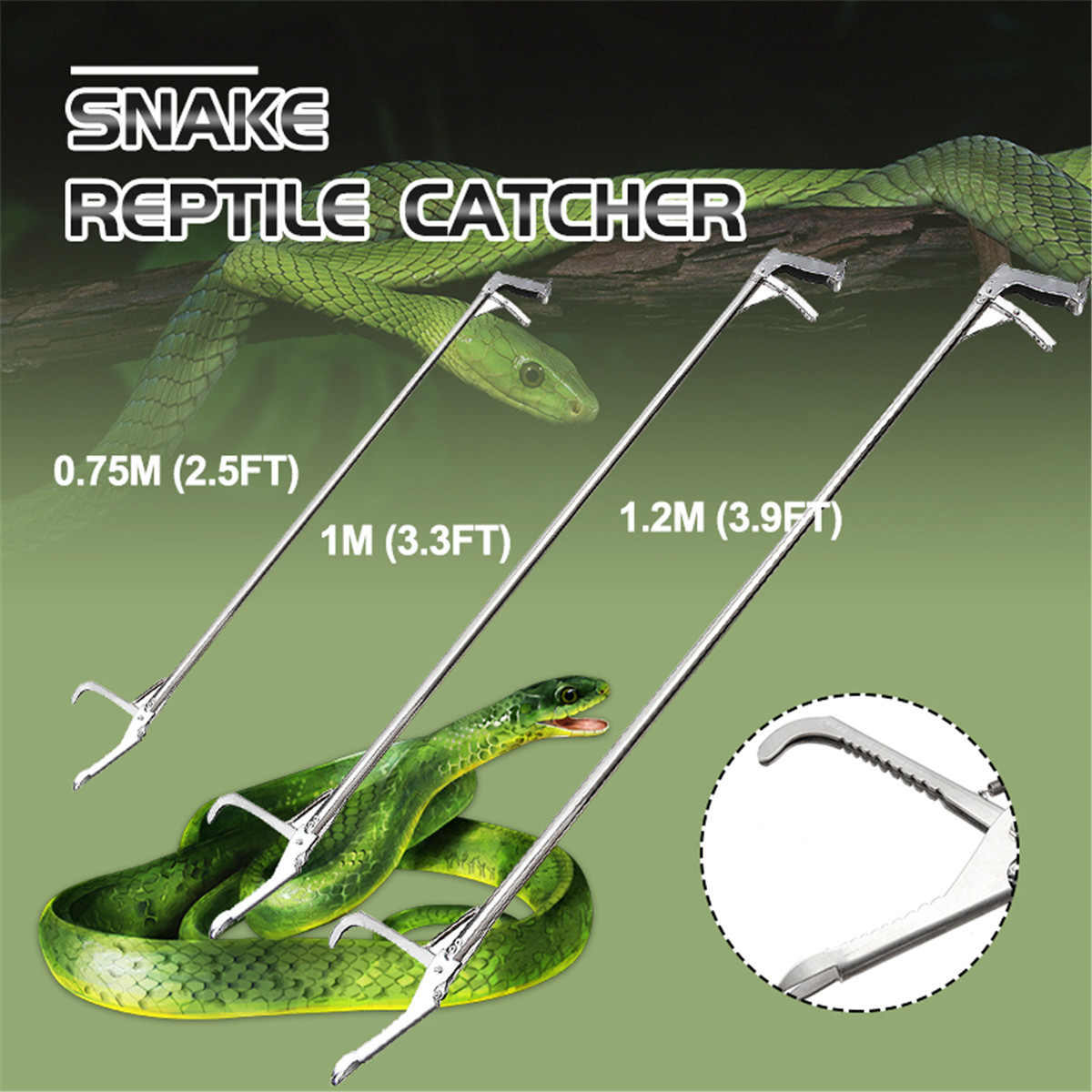120/100/75cm Professional Reptile Snake Catcher Tongs Stick Grabber Stainless Steel Wide Jaw Tool Heavy Pest Control Product