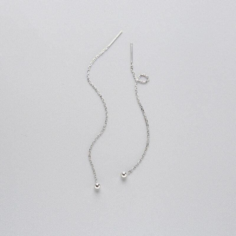 INZATT Minimalist 925 Sterling Silver Dangle Drop Earrings Fine Jewelry Glossy Bead Long Tassel Metal Chain Pendientes 2018 Gift