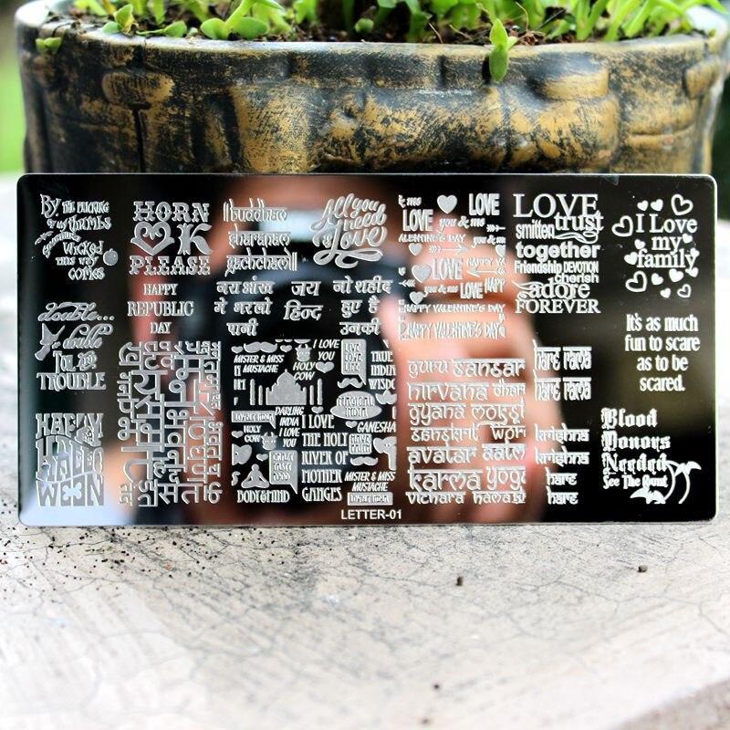 1Pcs English Letter Nail Stamping Plates Stencil Kuku Keluli Tahan - Seni kuku - Foto 2