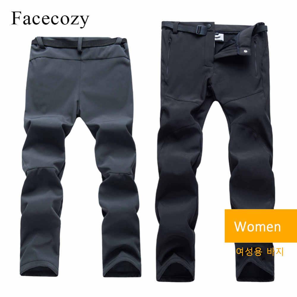 Facecozy 冬男性 & 女性ハイキングパンツインナーフリース防水プラスキャンプズボン屋外防風トレッキングパンツ
