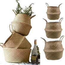 S/M/L Seagrass Wickerwork Basket Rattan Foldable Hanging Flower Pot Planter Woven Dirty Laundry Hamper Storage Basket Home Decor(China)