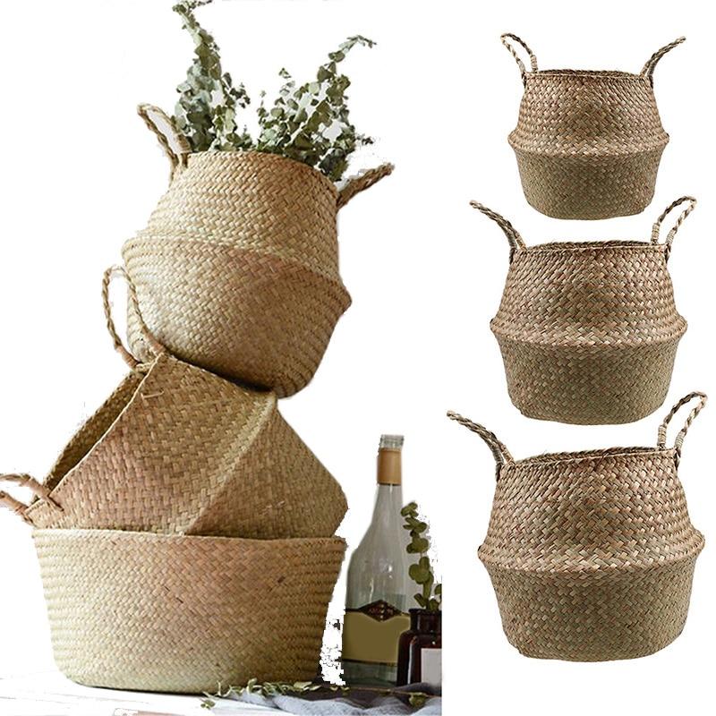 S/M/L Seagrass Wickerwork Basket Rattan Foldable Hanging Flower Pot Planter Woven Dirty Laundry Hamper Storage Basket Home Decor