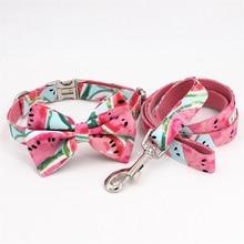 Розовый арбуз ошейник для собак галстук-бабочка с металлической пряжкой большая и маленькая собака и кошка аксессуары для ошейника питомца