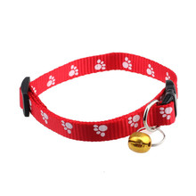 Adjustable Nylon Paw Print Collar for Dog or Cat