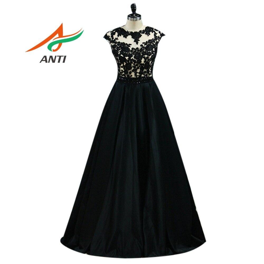 ANTI Appliques perles robe de soirée 2018 élégant Floral robes formelles robe de célébrité une ligne de fête de mariage respecter classique noir