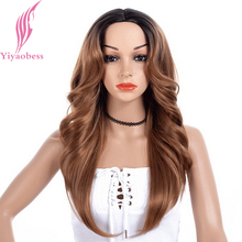 Yiyaobess 24inch Black Brown Ombre Long Wavy Wig Synthetic Hair Middle Part Two Tone Natural Wigs For Women