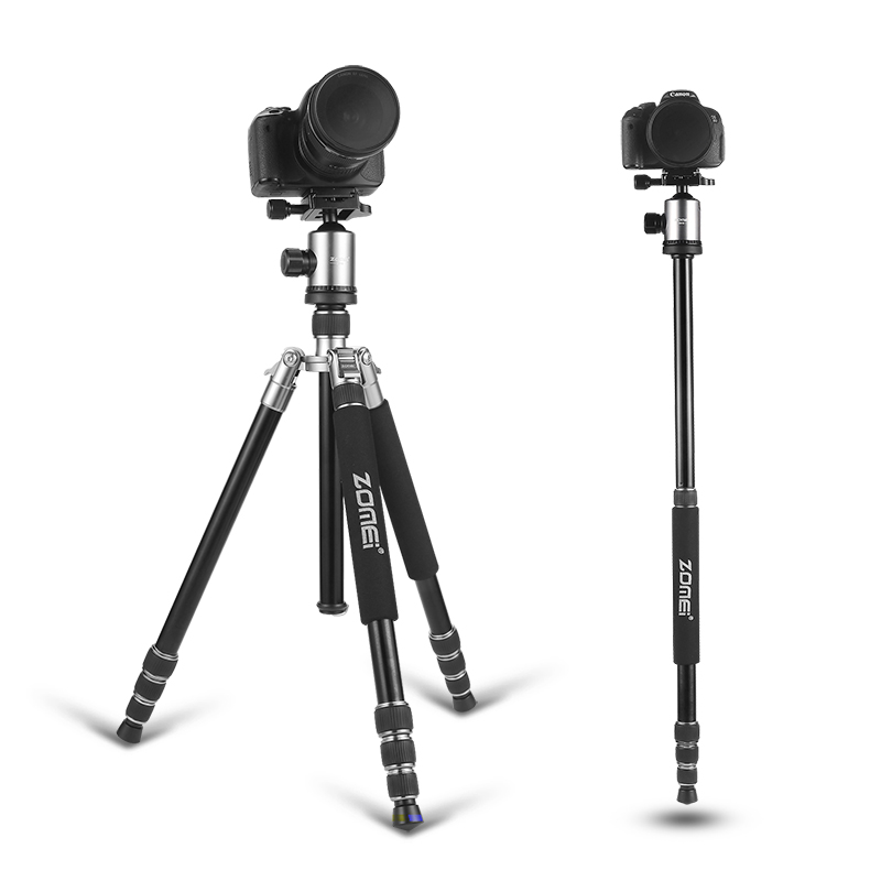 Zomei Z818 Professional Aluminium Alloy Tripod Kit Monopod For DSLR Camera Five Colors Available Light Compact Portable zomei z888 portable professional aluminium alloy travel tripod monopod z818 for slr dslr digital camera five colors available