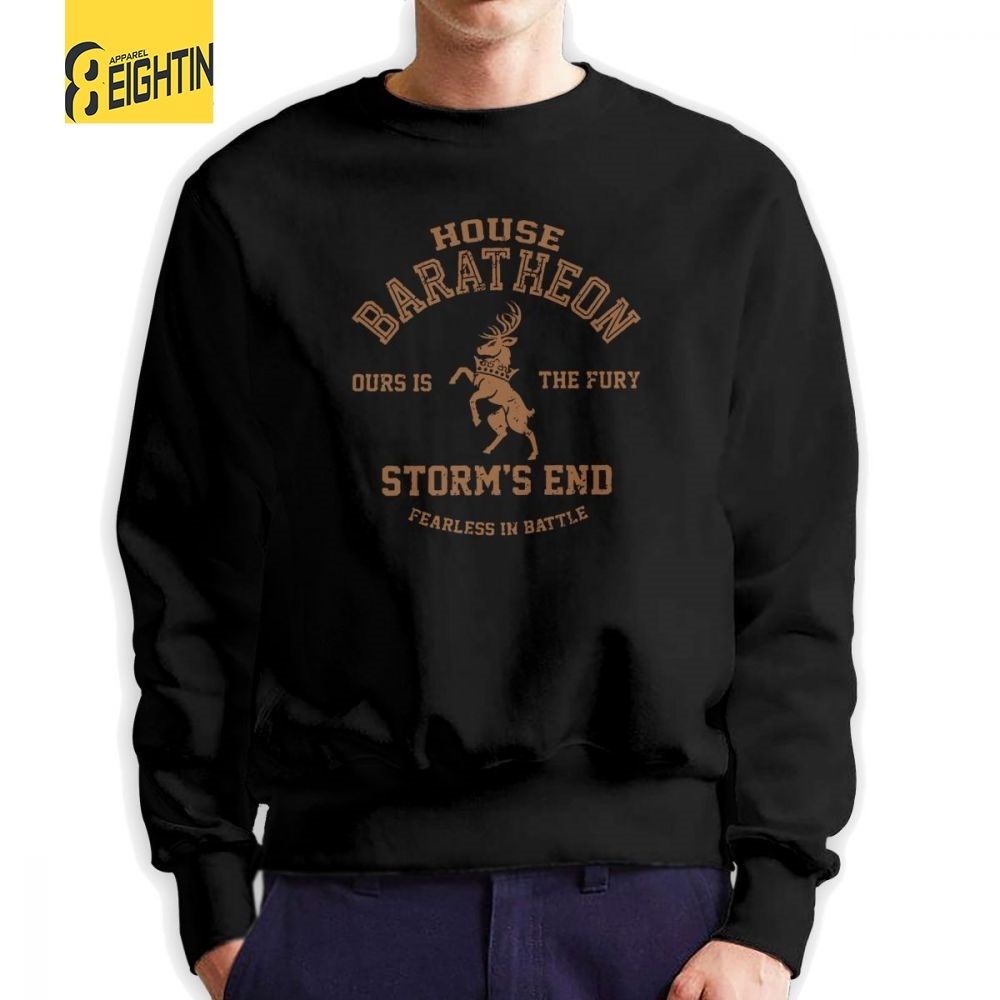 House Baratheon Ours Is The Fury Storm's End Game Of Thrones Man Sweatshirt Graphic Cotton Crewneck Pullovers Lightweight Hoodie