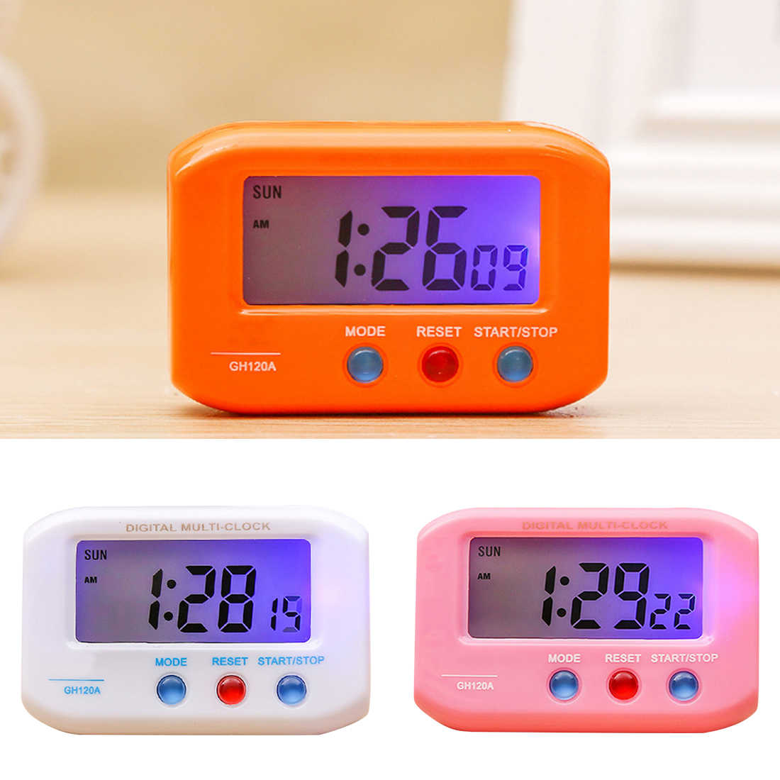 1pc Portable Digital Electronic Travel Alarm Clock Automotive Electronic Stopwatch LCD Clock With Snooze despertador