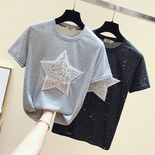 2019 Summer New Women T shirt Wear Printed Round Neck Short Sleeves  Solid O-Neck Regular