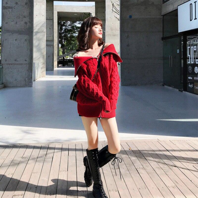 Donne Slash Lampo Maglione A Lavorato Casuale 2018 Top Autunno Maglia Di Sexy Femminile Collo Cardigan New Chiusura Inverno Lana Designer Della AqZvt0wq