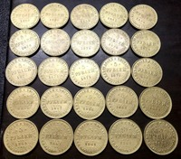 25 Set of Russia 5 Rubles 22K Gold plated Coin different dates